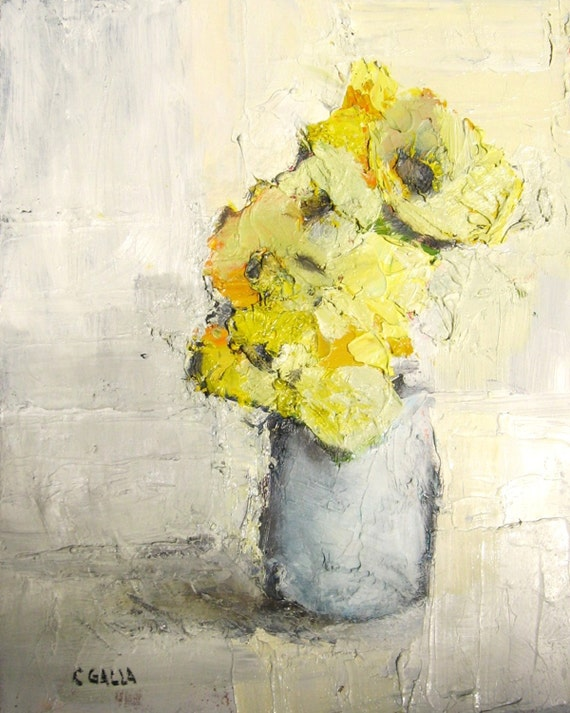 Abstract Art Print, Giclee Print, Yellow Flowers,  Gray Vase, Free Shipping, Still Life, 8x10, Oil Painting Print, Palette Knife Print