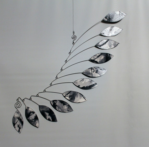 Mobile Art - Hand Painted Black and White Kinetic Mobile Sculpture