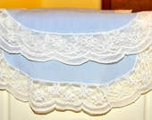 Set of 2 - Powder Blue dresser runner with delicate lace trim