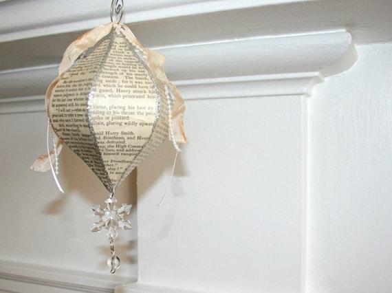 A Novel Ornament - Custom Made - Shabby Chic Vintage Paper Christmas Decor