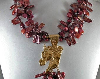 Rubies and Pearl Horse Necklace