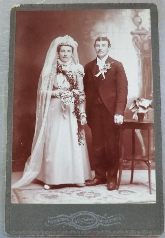 Late 1800's Antique Photo of Bride and Groom Wedding