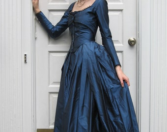 1780's Zone Front Gown in custom size and fabrics, Marie Antoinette dress