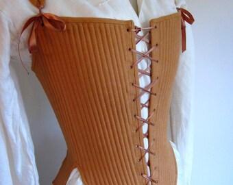 Elizabethan Effigy Corset Stays Custom Made in Linen, Reed Boned Historical Corset 1600 1590s Queen Elizabeth Style