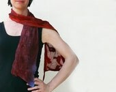 Nuno Felted silk scarf Purple Burgundy Red Blue
