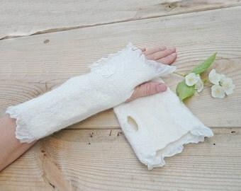 Wedding wool silk felted fingerless gloves arm warmers White