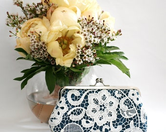 Personalized Gift, Bridesmaid Gift, White Lace Clutch in Navy Blue 8-inch L'HERITAGE