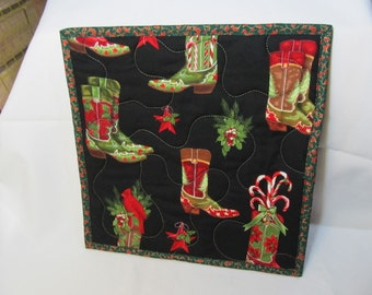 Christmas Trivet: Cowboy Boots Quilted Hot Pot Trivet, Cardinal, Insulbrite reflective batting, Centerpiece, Ready to Ship