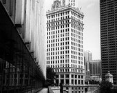 Wrigley Building from the Sun-Times Building, Chicago: Black and White Photo