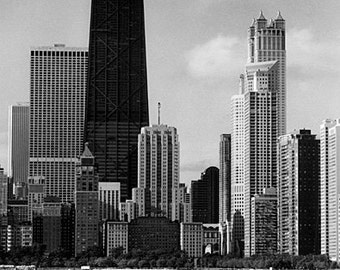 Chicago Skyline from North Avenue: Black and White Photo