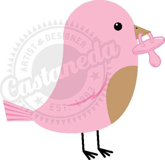Items similar to Baby bird painting, pink robin bird ...  |Pink Baby Birds