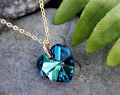 Blue Heart Gold Necklace - fiery Swarovski crystal heart pendant on 14k gold filled chain - also available in silver - free shipping USA