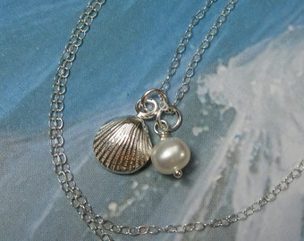 Handmade fine silver shell and freshwater pearl necklace - sterling silver chain - ocean, beach - free shipping USA