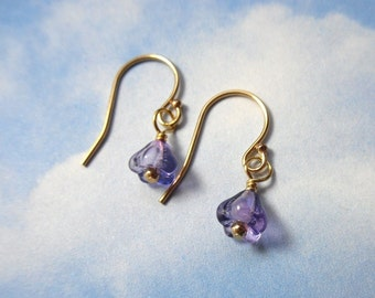Tiny violets earrings - delicate glass purple flowers on 14k gold filled ear wires - free shipping in USA