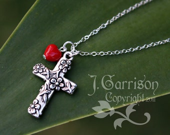 Floral Cross Necklace - red glass heart, silver plated cross, sterling silver chain - birthstone colors available - free shipping USA