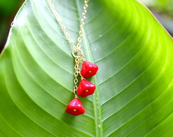 Red Poppies Necklace - Bright lipstick red glass flowers on delicate 14k gold filled chain - 14 to 26 inches - free shipping USA