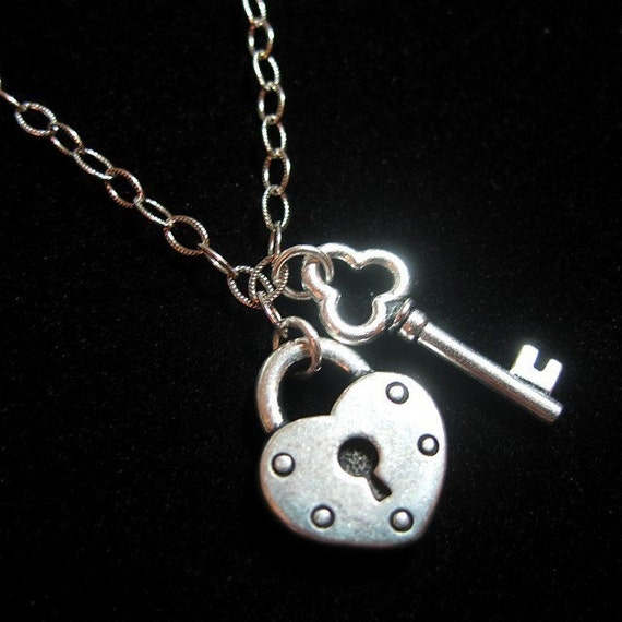 Key to my heart necklace - silver plated heart lock & key charms on sterling silver chain - free shipping USA