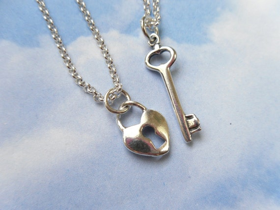 Sterling Silver Key to my heart couples necklace set- two modern necklaces - love, friendship, anniversary, engagement - free shipping USA