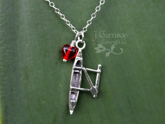 Love to Paddle Necklace - Sterling silver Hawaiian outrigger canoe charm & red heart - free shipping USA - birthstone colors available too