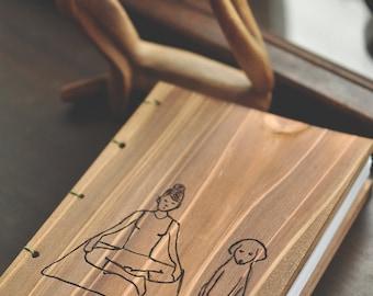 Letterpress Wooden handcrafted Yoga Sketch/Journal Book