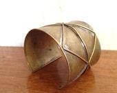 Vintage Brass Cuff Bracelet Signed Jewelry