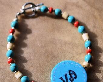 Peace Bracelet, Cherokee Language, Turquoise and Bone, Turquoise Jewelry, Native Style Jewelry, Handcrafted Jewelry, Gemstone Jewelry