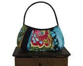 sale coupon code everyday DARJEELING TEA / Small Hobo purse zipper closure /  black denim, turquoise blue satin : by jennjohn