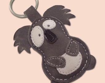 Leather Keychain Cute Little Gray Koala  - FREE shipping worldwide - Cute Handmade Koala Bag Charm Koala Lover Gift For Her Keychain Gift
