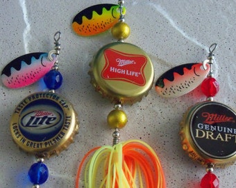 Handcrafted Recycled Bottle Cap Fishing Lure 3pk Gift for Men Valentines Day Gift for Him Gift for Father Valentines Day Gift for Husband