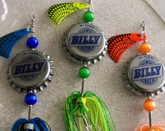 Personalized Mens Gift for Him Recycled Bottle Cap 3pk Fishing Lure Gift for Men Groomsman Wedding Gift Mens Birthday Gift for Husband