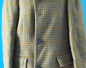 Vintage Pendleton Green Gingham Plaid Wool Coat