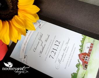 SAMPLE - Handmade Country Farm Wedding Invitation