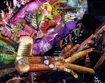 Night of the Iguana, 18x24 Original Collage Made from Torn Magazines, Pink, Green, Purple, Black