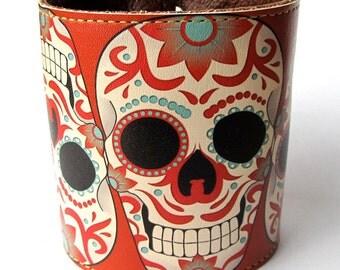 Leather cuff, wallet cuff, wallet wristband - Sugar skull tattoo design