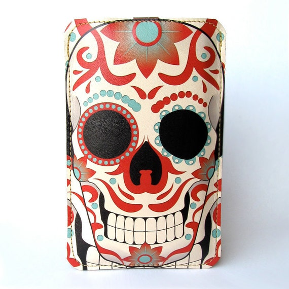 Leather iPhone (ALL) iTouch (ALL) HTC (Mozart/Desire) case - Sugar skull tattoo design