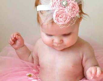 Annesley Pink Satin Rolled Rose Couture Headband  - Photography Prop - Newborn Photos
