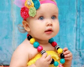 Rainbow Sherbet Sweet Couture Satin Rolled Rose Headband  - Photography Prop - Newborn Photos