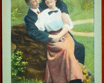 Early 1900s Funny and Romantic Postcard. Those Were the Happy Days