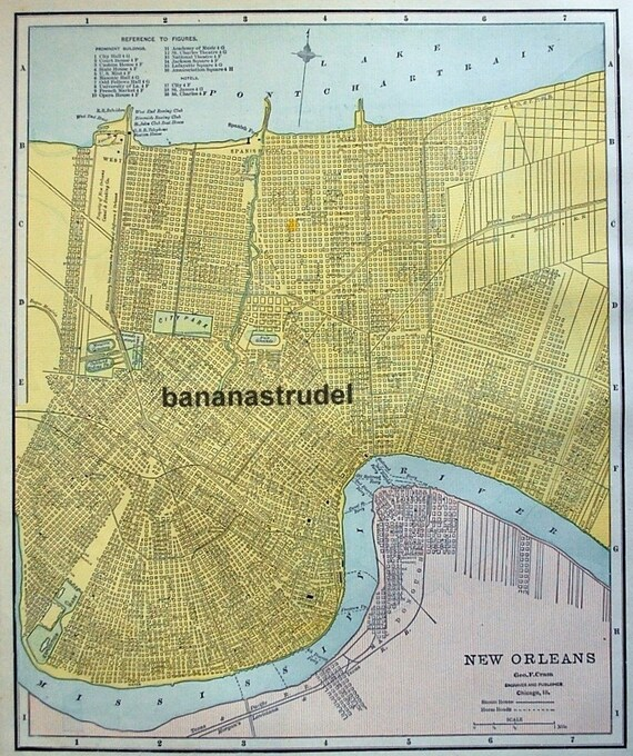 1891 Antique Map of New Orleans, Louisiana