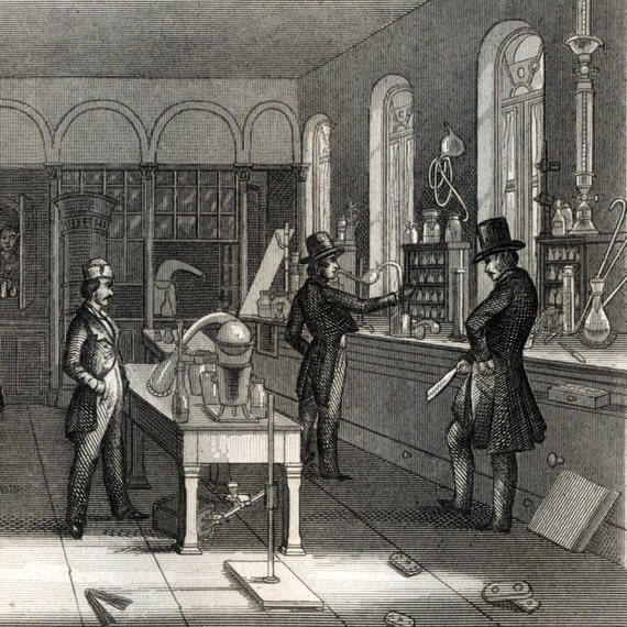 1851 Antique Steel Engraving of Laboratories and Lab Equipment. Plate 30