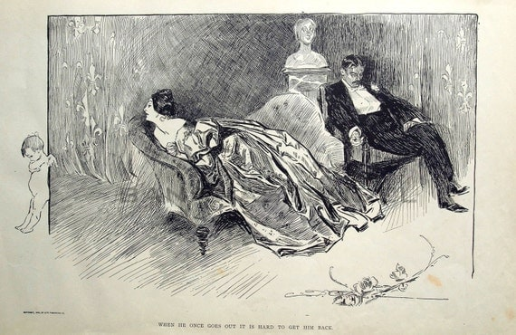 Gibson Girl - Hard to Get Love Back - Humorous 1906 Antique Charles Dana Gibson Print