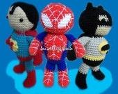 Instand Download  Amigurumi Crochet PDF pattern - Set of 3 Hero