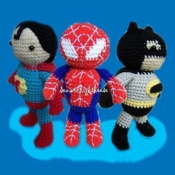 Free Spiderman Amigurumi Crochet Pattern : Instand Download Amigurumi Crochet PDF pattern Set of 3