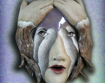 Do You Believe in Magic  - Mask Sculpture, Ceramic Wall Art, Original Mask Art