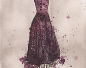 Print - Watercolor and Charcoal Painting - Vintage Perfectly Plum Dress