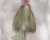 Print - Watercolor and Charcoal Dress Painting - Vintage Brooke Dress