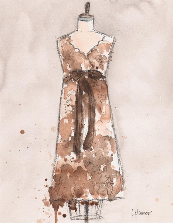CLEARANCE Original - Watercolor and Charcoal Painting - Brown Vintage Lace Dress -  11x14