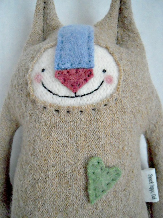 Stuffed Animal Cat Wool Sweater Upcycled