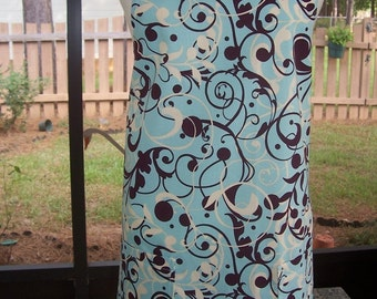 Women's Full Apron, Robin Blue Swirls, Kitchen Apron, Bib Apron, Pocket Apron, Hostess Gift, Light Aqua Blue Apron,