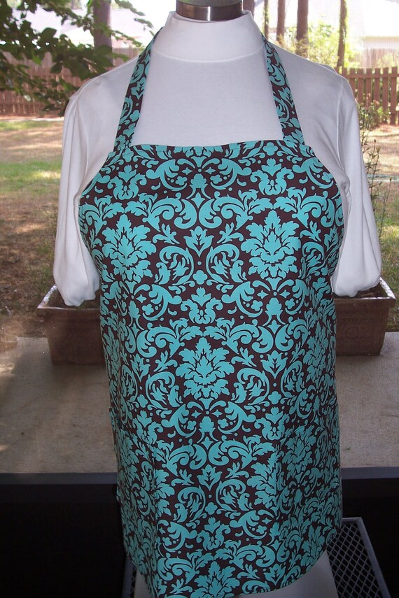 Plus Size Apron w/ 2 Pockets - Blue Chocolate Damask Teal Brown